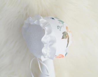 Fall newborn bonnet, fall bonnet, newborn bonnet, newborn prop, photo prop, ruffle bonnet, fall prop, baby prop, newborn hat, prop hat