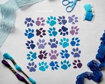Modern cross stitch cross stitch pattern cross stitch digital download nursery wall art pet pet memorial cat pets purple blue cat lover gift