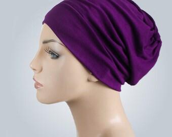 Plum Turban Head Band, Yoga headband, Wide Headband, Exercise Headband, Pretied Turban 298-05a