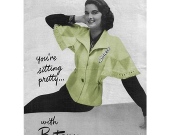 1950s Sweater with Short Wide Sleeves and Fringe - Knit pattern PDF 1604