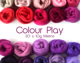 Mixed Merino pack - 20 colours - 20 x 10g ( 200g / 7 oz ) - pinks - purples - COLOUR PLAY