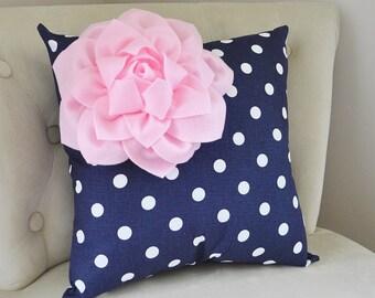 Decorative Pillow Covers - Navy Blue Pillow Covers - Throw Pillow Cover - Pink Cushion Covers - Blue Pillow - Nursery Pillows - Baby Bedding
