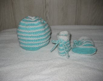 wool baby hat and Bootie set