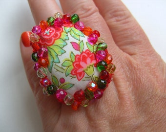 Bohemian,Oval, Hand stitched, hand embroidered, Liberty fabric, Ring, floral, by NewellsJewels on etsy