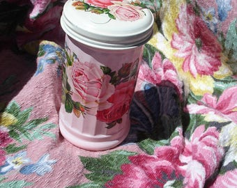 SUGAR shaker*Shabby cottage chic*Pink and white*Double pink roses*Wonderful
