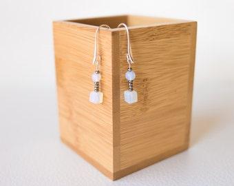 White gemstone earrings – white moonstone earrings, white stone earrings, semi precious stone earrings – white beaded earrings