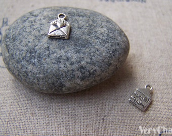 50 pc of Antique Silver Heart Mail Charms 6x10mm A1303