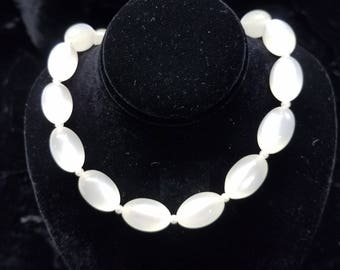 Vintage White Lucite Moonglow Bead Necklace