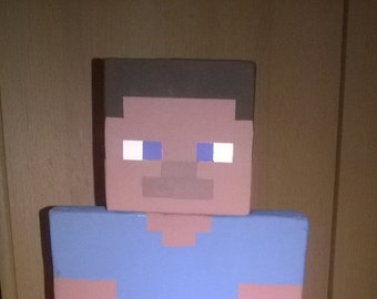 Minecraft inspired Steve from wooden Figure deco