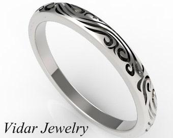 Vintage Wedding Band,Womens Wedding Band,Tribal Wedding Band,Unique Wedding Band,Engrave Wedding Ring,14K White Gold Ring,Unique Ring Design