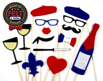 Paris Photo Booth Props - French Photobooth - Wine, Food, and Love - France Disguise Set Party Props
