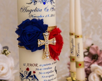Unity Candle Set Royal Blue Red and Gold Wedding Unity Candles Personalized Unity Candle Unique Unity Candle Set