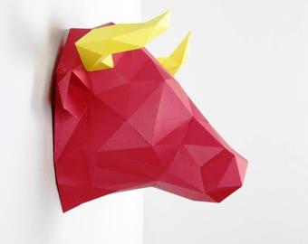 Trophy Bull Head, DIY kit. DIY paper Bull. Home decor