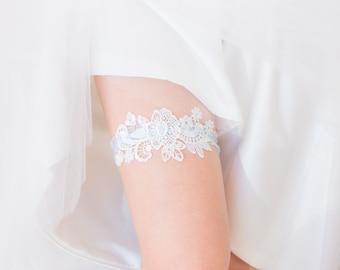 Something Blue - Wedding Garter, White Lace, Blue lace band, Bridal Shower Gift, Lingerie