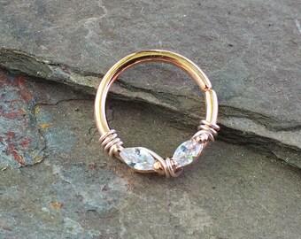 Rose Gold Septum Ring Rose Gold Daith Piercing Rook Earring Hoop