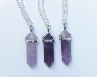 Amethyst Crystal Necklace, Amethyst Necklace, Healing Crystal Necklace, Crystal Point Necklace, Crystal Necklace, Reiki Crystal, Amethyst