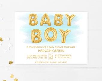 Baby Shower Invitation, Blue Baby Shower Invitation, Boy Baby Shower Invitation, Printable Baby Shower Invite, Baby Shower, Boy, Baby [752]