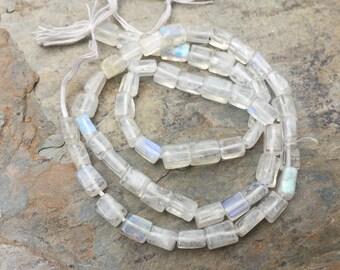 Moonstone Rectangle Beads, Blue Flash, Rainbow Moonstone Rectangle Beads, 4 to 6mm, 14.5 inch strand.
