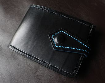 Black and Cyan Handmade Leather Card Wallet , Men's Leather Wallet , Black Leather Wallet