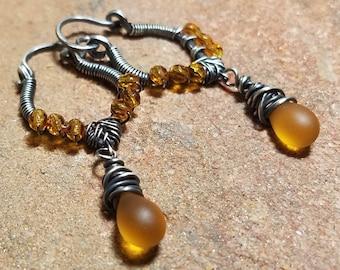 Amber Rain Sterling Silver Wire-Wrapped Hoop Style Earrings - Czech Glass and Sterling Silver Earrings - Handmade