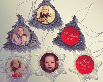 Photo Christmas Ornament With Your Photo - 2 Sided.