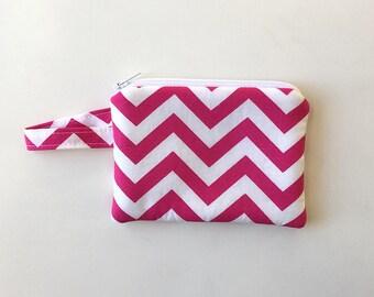 cash wallet zipper pouch, Minimalist pocket wallet, earbud case, Change purse, mini zipper pouch, padded wallet,Pink chevron, jewelry bag