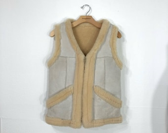 70's vintage zip up reversible leather sherpa vest size 36