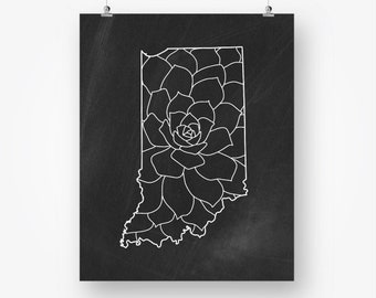 indiana state print chalkboard download printable indiana map floral black and white neutral wall art decor digital instant download jpg pdf