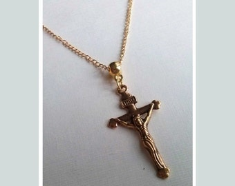 Gold Cross Necklace , Catholic Necklace , Christian Necklace , Jesus Cross , Simple Cross Necklace , Handmade Jewelry , Handmade Jewellery