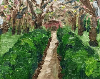 Original oil painting - miniature - garden