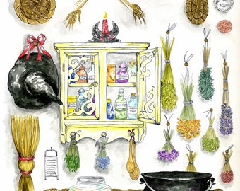 Witch's Magickal Kitchen Herbs and Potions Print Pagan Wiccan Fantasy Fine Art Altar Decor Pen and Ink Watercolour Illustration