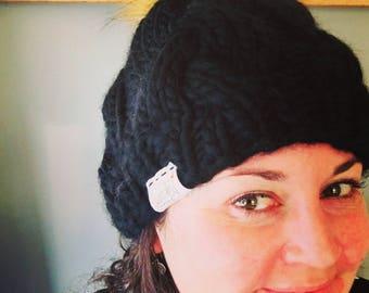 Chunky Wool, AllieCaps, Pom Pom, Peruvian Wood, Hand knit, Womens Winter Hat