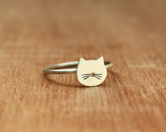 Tiny cat Ring -Sterling Silver - Cat lover gift