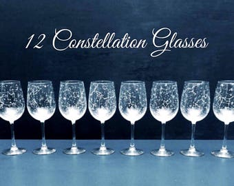 Set of 12 Handpainted Star Constellation Wine Glasses - Custom Order Your Own Set