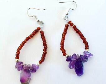 Amethyst earrings , Gemstone earrings , Purple stone earrings , gemstone, drop earrings , Native , American Indian earrings , Native America