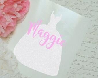 Wedding Dress Monogram Glossy and Glitter Vinyl Decal, Monogram Sticker
