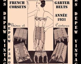 Vintage Sewing Pattern French 1930s Corset Garter Belt and Girdle Digital Pattern #3006 -INSTANT DOWNLOAD-