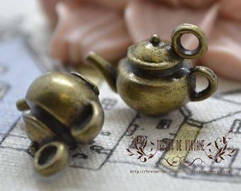 set of 6 QWP050 charms, Bronze, teapot, tableware
