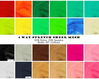 4 Way Stretch Sheer Power Mesh Net Fishnet Fabric For Dance Gymnastics Skate Gowns