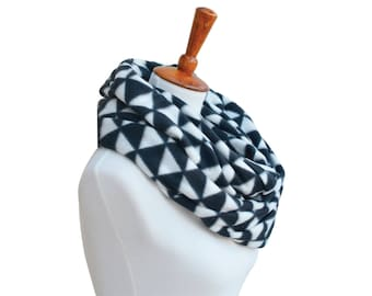 Triangles Fleece Infinity Scarf - Winter Scarf - Scarves for Women - Circle Scarf - Cowl - Chunky Scarf - Infinity Scarves - Winter Gift