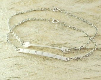 Set of TWO bar bracelet Bar bracelet bar jewelry simple bar bracelet alloy Bar bracelet 92 silver Christmas Gift  friendship bracelets