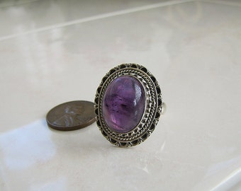 Oval Amethyst Sterling Silver Ring, size 7