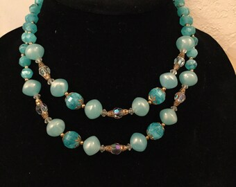 SALE! Gorgeous vintage turquoise bead and crystal double strand necklace (A116)