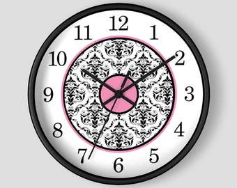 Pink Damask Wall Clock - Black White Damask with Pink Accents - 10-inch Round Clock - Made to Order