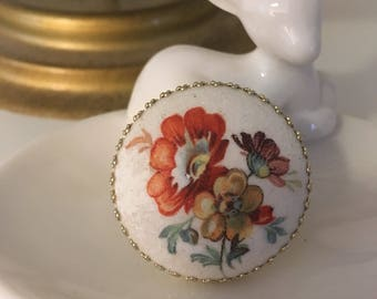 Vintage Button Adjustable Ring