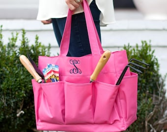 Monogrammed Carry All ~ Personalized Large Caddy ~ FREE Personalization ~ Monogrammed Utility Tote ~ Essential Carry All Organizer ~4 colors