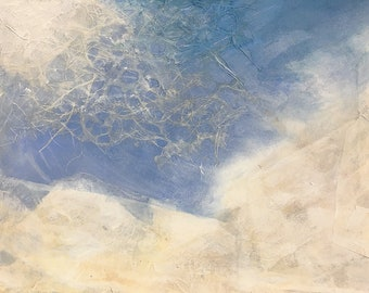 Cloud Collage- Original Mixed Media on Paper- 11.25x7.75- Blue, White- Sky Painting