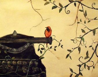 Vintage Typewriter with orange bird art print - Laura Sue Art