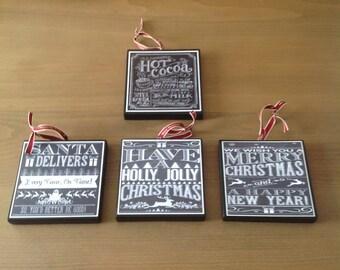 Chalkboard Christmas Ornaments (Set B)