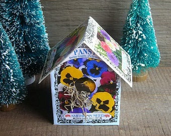 Pansy Birdhouse - Recycled Flower Seed Packet Bird House